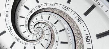 För klockaklockan för den moderna diamanten vred vita händer för klockan till den overkliga spiralen Abstrakt spiral fractal Patt Arkivfoto