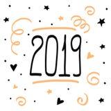 2019 för klotteraffisch för lyckligt nytt år hand drog illustrat för jul royaltyfri illustrationer