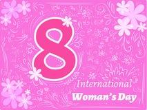 För klotterhälsning för vektor magentafärgad dag för kvinna för kort internationell vektor illustrationer