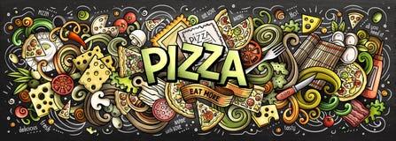 För klotterpizza för tecknad film gulligt ord stock illustrationer