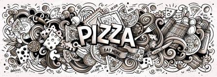 För klotterpizza för tecknad film gulligt ord Linje konsthorisontalillustration vektor illustrationer