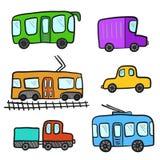 För klotterstad för gullig tecknad film färgrik transport Fotografering för Bildbyråer