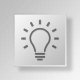 för knappsymbol för ljus kula 3D begrepp Arkivfoto