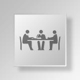 för knappsymbol för möte 3D begrepp royaltyfri illustrationer