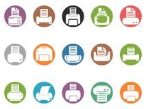 För knappsymboler för skrivare rund uppsättning arkivbild