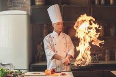 För kockmatlagning för mogen man yrkesmässigt mål inomhus fotografering för bildbyråer