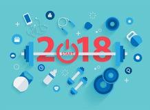 för konditionbegrepp för nytt år 2018 genomkörare med utrustning Fotografering för Bildbyråer