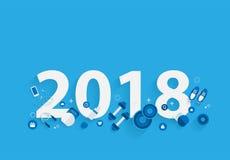 för konditionbegrepp för nytt år 2018 genomkörare med utrustning Royaltyfri Fotografi