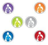 för konditionlogo för fett fit förlust till omformningsvikt vektor illustrationer