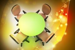 För konferens stolar för rund tabell och kontorsi mötesrum Arkivfoton