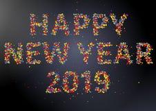 För konfettihälsning för lyckligt nytt år 2019 färgrikt kort arkivbilder