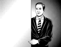 För konststil för vektor svartvit komisk illustration av en ung chef som rymmer ett vitbokark vektor illustrationer