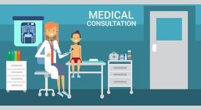För konsultationhälsovård för doktor Examining Patient Medical baner för medicin för service för sjukhus för kliniker vektor illustrationer