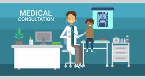 För konsultationhälsovård för doktor Examining Patient Medical baner för medicin för service för sjukhus för kliniker stock illustrationer