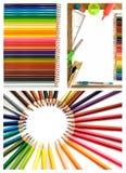 för kontorsblyertspennor för collage färgrika tillförsel Arkivbilder