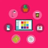 För kontorsinre för arbetsplats modern design för lägenhet Arkivbilder