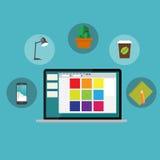 För kontorsinre för arbetsplats modern design för lägenhet Royaltyfria Foton