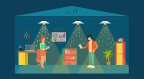 För kontorsrum för teknologi Li-Fi optisk inre vektor 3d för lägenhet vektor illustrationer