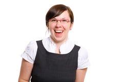 för kontorssmiley för framsida lycklig isolerad arbetare royaltyfri bild