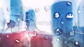 För kontoskatt för FATCA utländskt begrepp för reglering för finans för affär för lag för regering för Amerikas förent royaltyfri foto