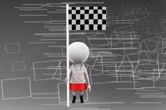 för kontrollörflagga för kvinnor 3d illustration Royaltyfri Fotografi