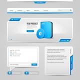 För kontrollbeståndsdelar för rengöringsduk UI Gray And Blue On Gray bakgrund: Navigeringstång, knappar, glidare, meddelandeask,  Arkivbilder