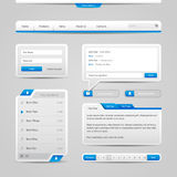 För kontrollbeståndsdelar för rengöringsduk UI Gray And Blue On Light bakgrund: Navigeringstång, knappar, form, glidare, meddelan Royaltyfri Bild