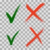 För för kontrollfläck och Röda korset för hand utdragna gröna symboler stock illustrationer
