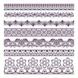 För konturillustration för gräns blom- uppsättning för baner och ethn vektor illustrationer