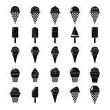 För kontursymboler för glass enkel svart uppsättning Royaltyfria Bilder