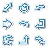 för kontursymboler för pilar blå rengöringsduk för etikett för serie Arkivbilder