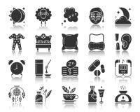 För kontursymboler för sömnlöshet svart uppsättning för vektor royaltyfri illustrationer