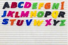 För kopieringsutrymme för Abc bokstäver fodrad bakgrund Fotografering för Bildbyråer