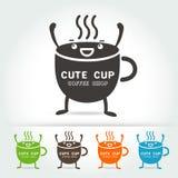 För kopplogo för kaffe gullig vektor Fotografering för Bildbyråer