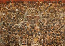 för korea för deva 104 trä för lättnad för museum mok Royaltyfria Bilder