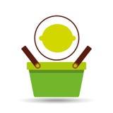 För korgcitrus för kommers grön citron Royaltyfri Bild