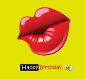 För kortleende för lycklig födelsedag rolig kyss vektor illustrationer