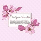 För kortrektangel för magnolia rosa ram Arkivbilder
