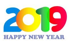 För korttext för lyckligt nytt år 2019 design Arkivfoto