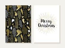 För kortuppsättning för glad jul retro stam- guld- modell vektor illustrationer