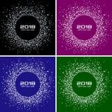 För kortuppsättning för lyckligt nytt år 2018 bakgrunder för vektor Ramar för cirkel för ljusa färgrika diskoljus rastrerade stock illustrationer