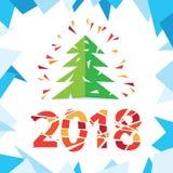 För kortvektor för nytt år och julhälsningillustration Royaltyfria Foton