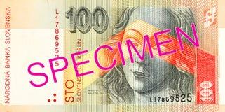 för korunasedel för slovak 100 avers royaltyfria foton