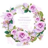 För kransram för rosor blom- runt kort För bukettskönhet för tappning delikat illustration för vektor royaltyfri illustrationer
