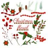 För kransvinter för jul blom- krans för illustration för design för blomma för konst för vektor för beståndsdelar för ferie för f stock illustrationer
