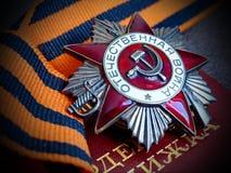 ` För krig för Orden ` stor patriotisk på band för St George ` s Tilldela för beställning Utmärkelser av soldaten heirloom minne royaltyfri fotografi
