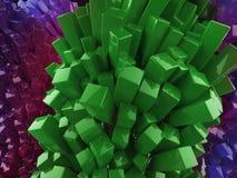 För kristallabstrakt begrepp för skinande glansig metall kubiktolkning för bakgrund Vektor Illustrationer