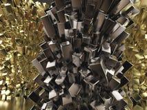 För kristallabstrakt begrepp för skinande glansig metall kubiktolkning för bakgrund Stock Illustrationer