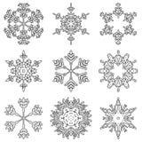 För kristallsnö för vektor konstnärliga iskalla abstrakta flingor vektor illustrationer