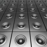 för kromljud-system för silver 3d set för dj deejay Arkivbilder